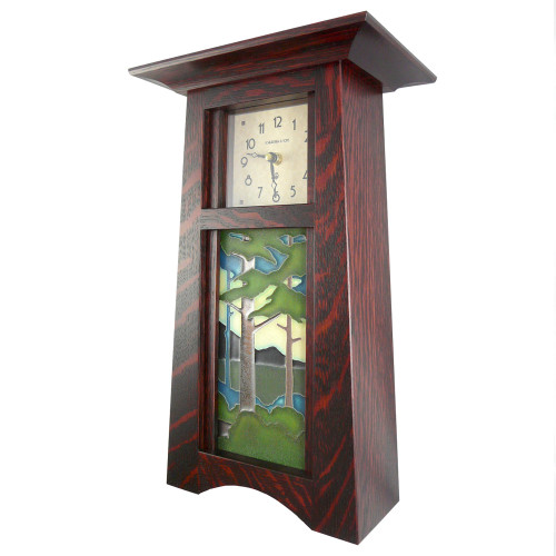 Tall Craftsman Clock with Pine Forest Tile