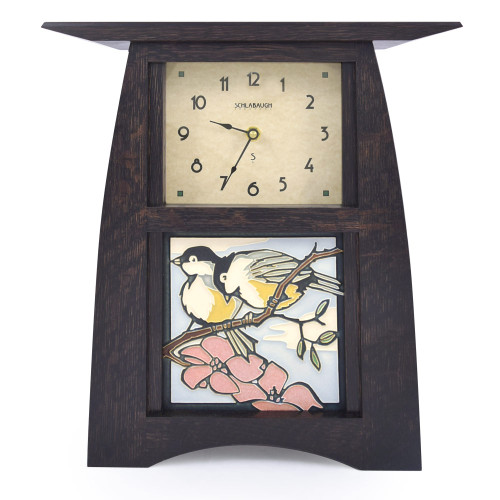Arts and Crafts Style Upright Clock with Chickadees Tile