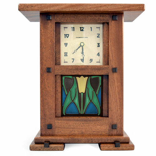 Arts and Crafts Style Upright Clock with Nouveau Lotus Tile