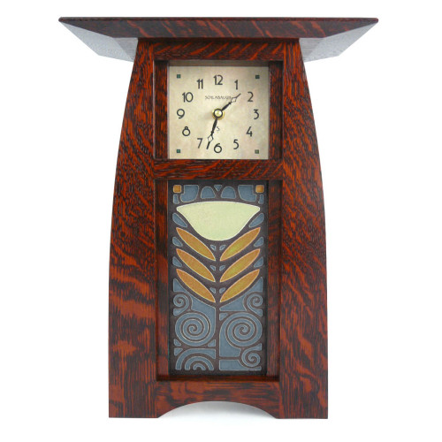Arts and Crafts Style Upright Clock with Poppy Tile