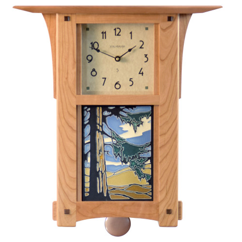 Craftsman Style Wall Clock with Mountain Forest Tile and Pendulum