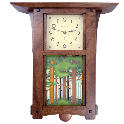 Craftsman Style Wall Clock with Woodland Tile and Pendulum