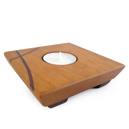 Cherry Wood Tea Light Candle Holder