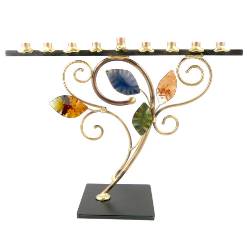Swirling Leaf Menorah in Brass, Copper and Iron