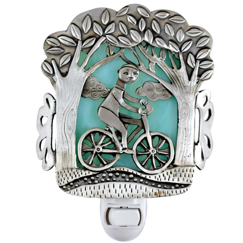 Cast Pewter Art Nightlight - Bicycle Ride