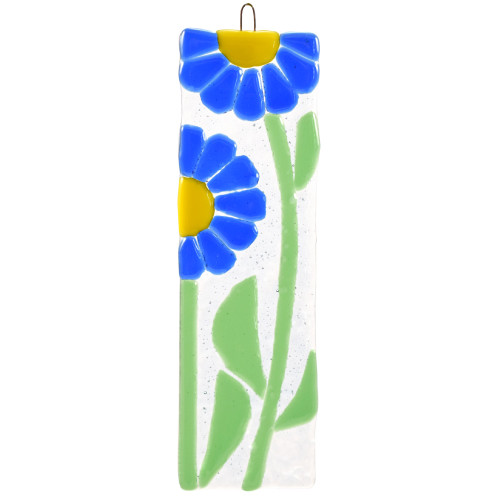 Blue Daisies Fused Glass Suncatcher