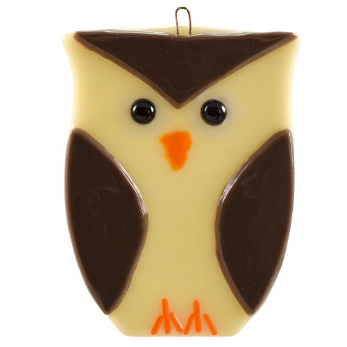 Whimsical Owl Fused Glass Suncatcher