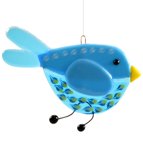 Whimsical Bird Fused Glass Suncatcher