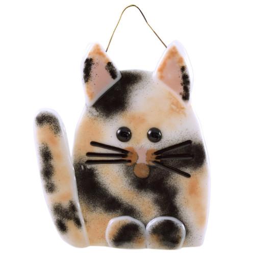 Whimsical Cat Fused Glass Suncatcher