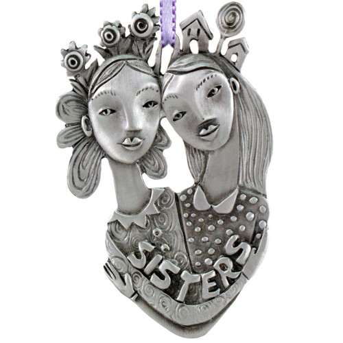 Cast Pewter Art Ornament - Sisters