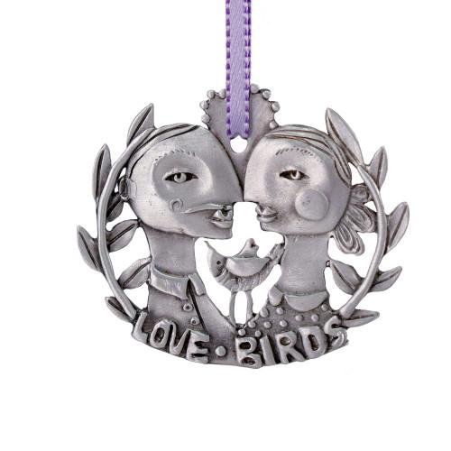 Cast Pewter Art Ornament - Lovebirds