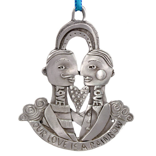 Cast Pewter Art Ornament - Our Love is a Rainbow Male Couple