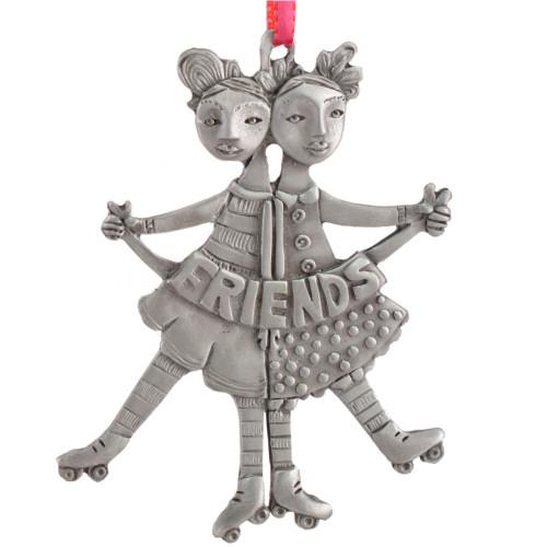 Cast Pewter Art Ornament - Girl Friends on Skates