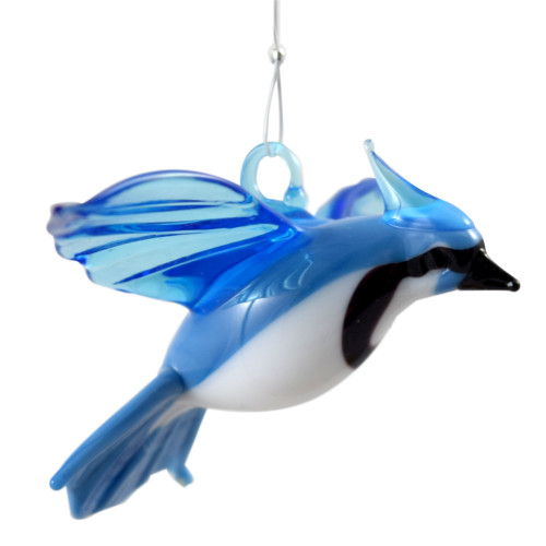 Blue Jay Hanging Art Glass Figurine