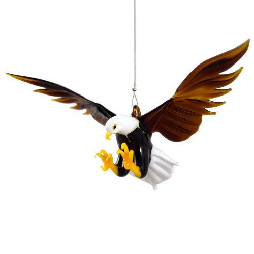 Bald Eagle Hanging Art Glass Figurine