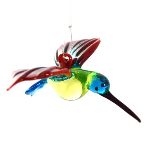 Red and Blue Hummingbird Hanging Glass Figurine