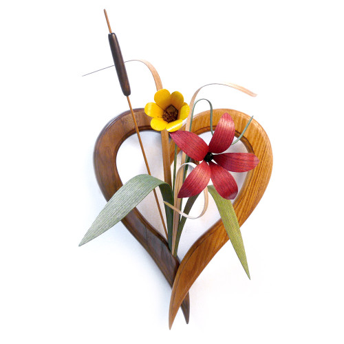 Heart-Shaped Wall Vase with Wood Wildflowers Arrangement