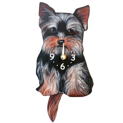 Tail-Wagging Dog Clock: Yorkie