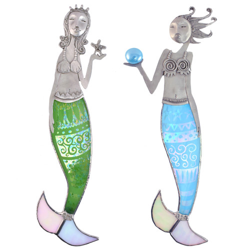 Cast Pewter and Art Glass Mermaid Wall Hanging