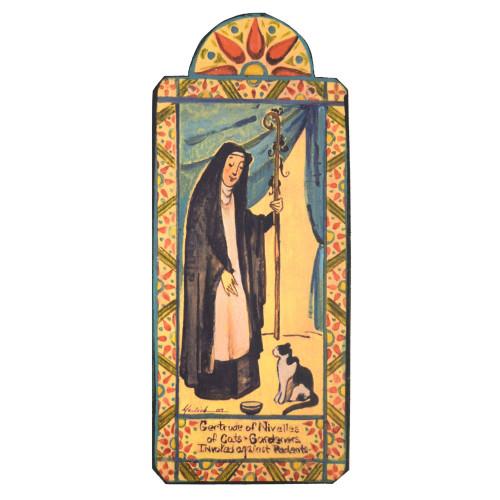 Patron Saint Retablo Plaque - St Gertrude of Nivelles