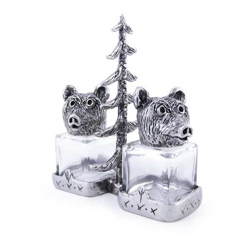 Bears in the Woods Pewter Salt + Pepper Shaker Set