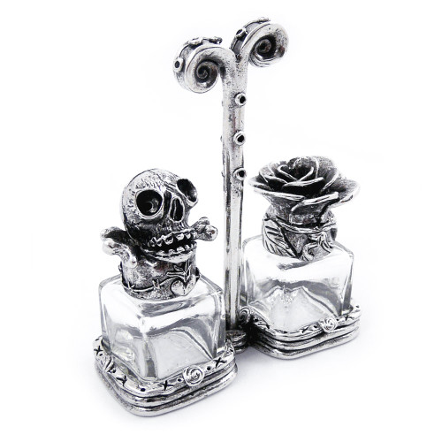 Skull and Rose Pewter Salt + Pepper Shaker Set