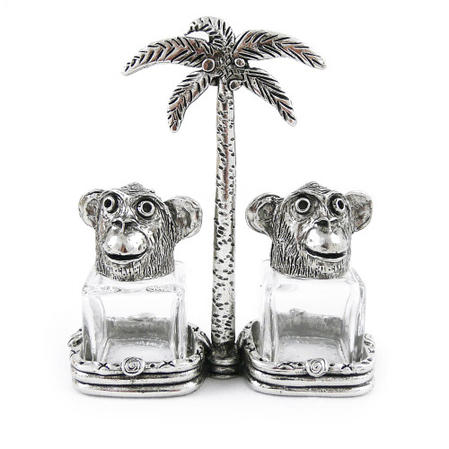 Two Monkeys Pewter Salt + Pepper Shaker Set