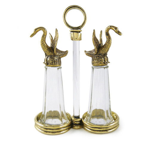 Golden Swans Tall Salt + Pepper Shaker Set
