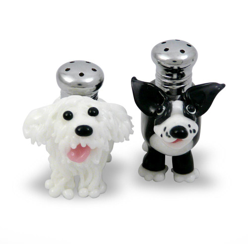 Handblown Glass Salt + Pepper Shaker Set: 'Salty and Peppa' Dogs