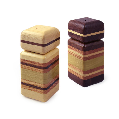 Urban Stripe Mixed Hardwood Salt + Pepper Set