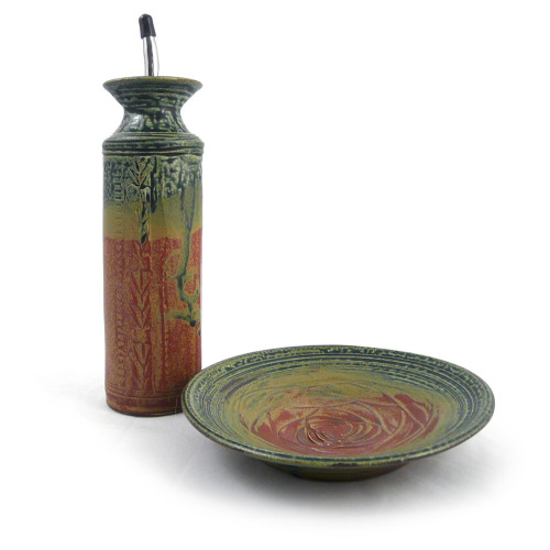 Stoneware Olive Oil Cruet and Dipping Dish Set, Desert Color