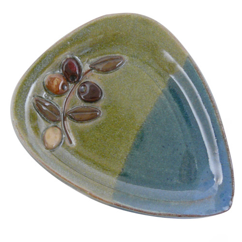Stoneware Spoon Rest with Olive Motif