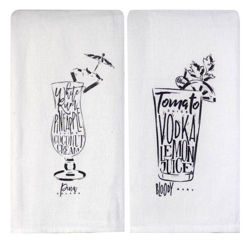 Perfect Pairings Kitchen Towel Set: Bloody Mary/Pina Colada