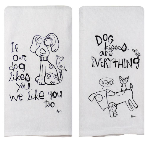 Perfect Pairings Kitchen Towel Set: Dog Kisses/Dog Likes You