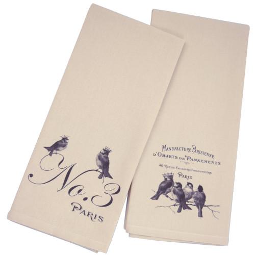 French Country Faux Linen Tea Towel Set: Paris Birds