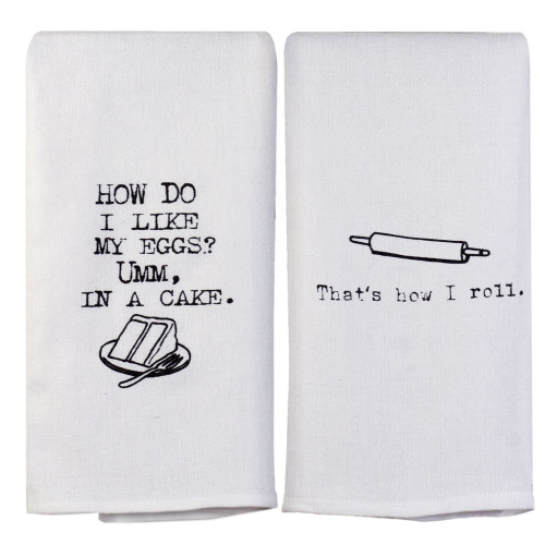Perfect Pairings Kitchen Towel Set: Whimsical Baker's Quotes
