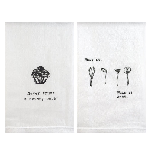 Perfect Pairings Kitchen Towel Set: Whip It/Skinny Cook Quote