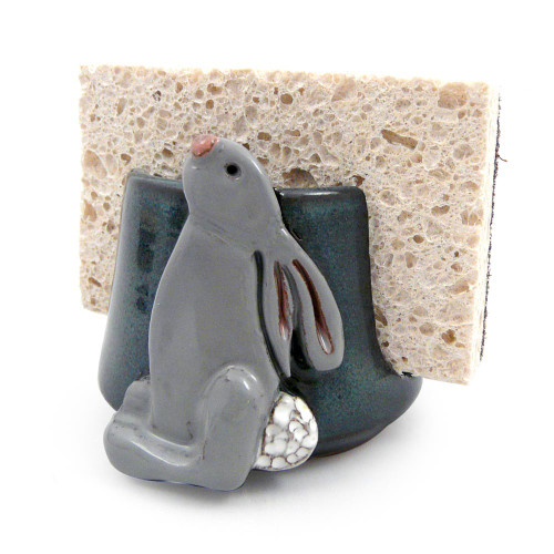 Stoneware Sponge Holder with Bunny