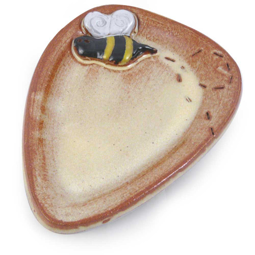 Stoneware Spoon Rest with Bee Motif