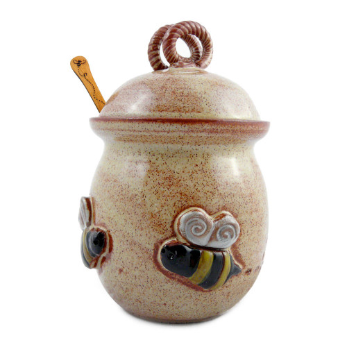 Stoneware Honey Jar with Bee Motif