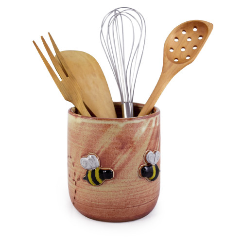 Stoneware Utensil Holder with Busy Bee Motif