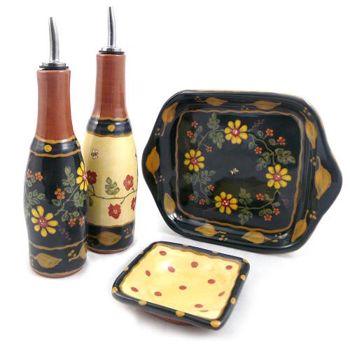 Terra Cotta Oil and Vinegar Serving Set: Romany Old Rose Motif