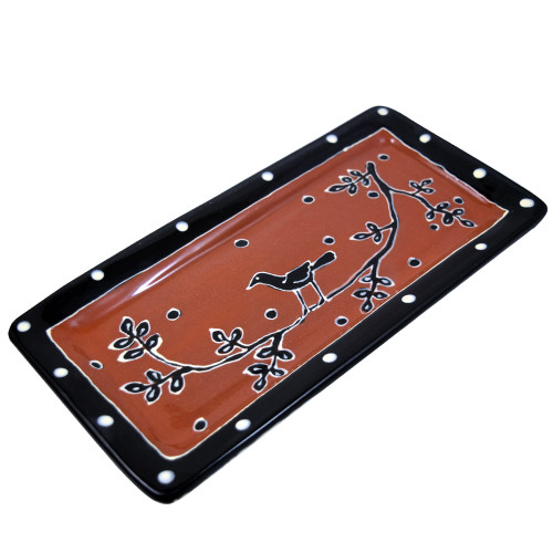 Terra Cotta Pottery Everyday Tray - Blackbird Motif