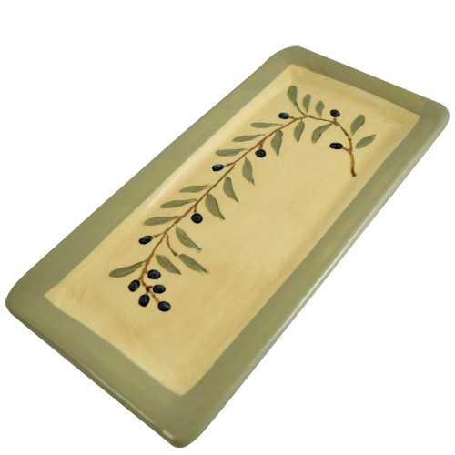 Terra Cotta Pottery Everyday Tray - Olive Branch Motif