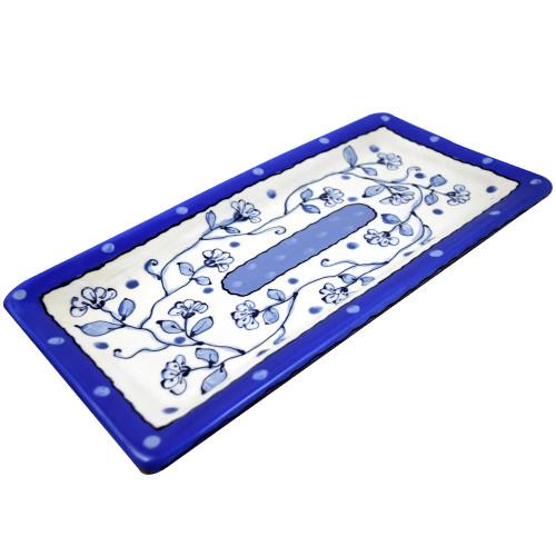 Terra Cotta Pottery Everyday Tray - Wildflower Blue Motif