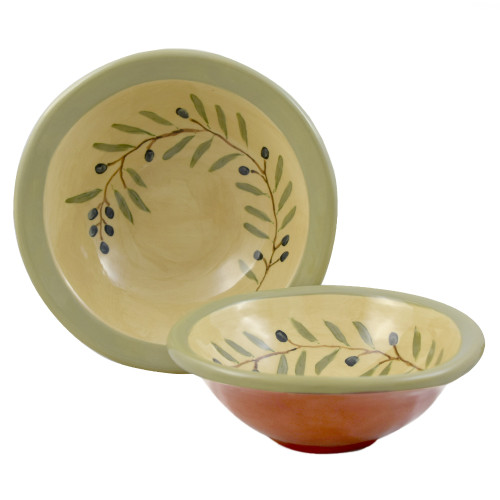 Terra Cotta Pottery 2-Bowl Serving Set: Olive Branch Motif