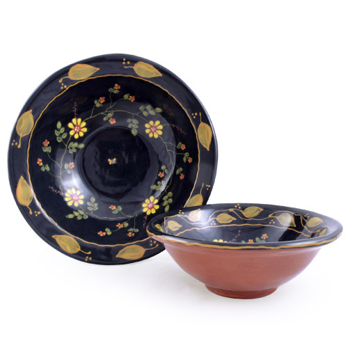 Terra Cotta Pottery 2-Bowl Serving Set: Old Romany Motif