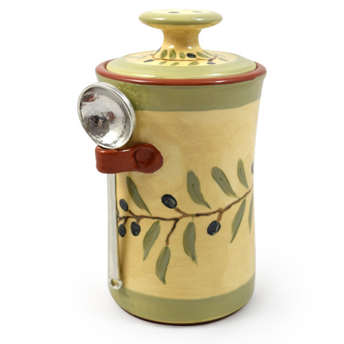 Terra Cotta Pottery Coffee Canister: Olive Branch Motif