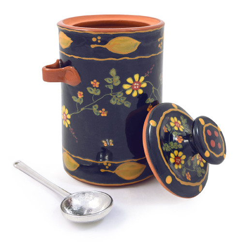 Terra Cotta Pottery Coffee Canister: Old Romany Motif