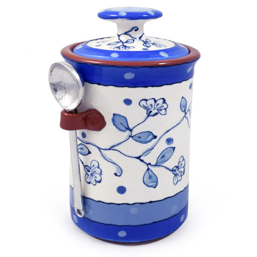 Terra Cotta Pottery Coffee Canister: Wildflower Blue Motif